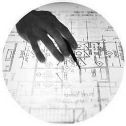 hand drawing a plot plan