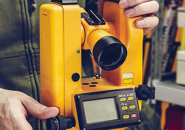 yellow surveying tool